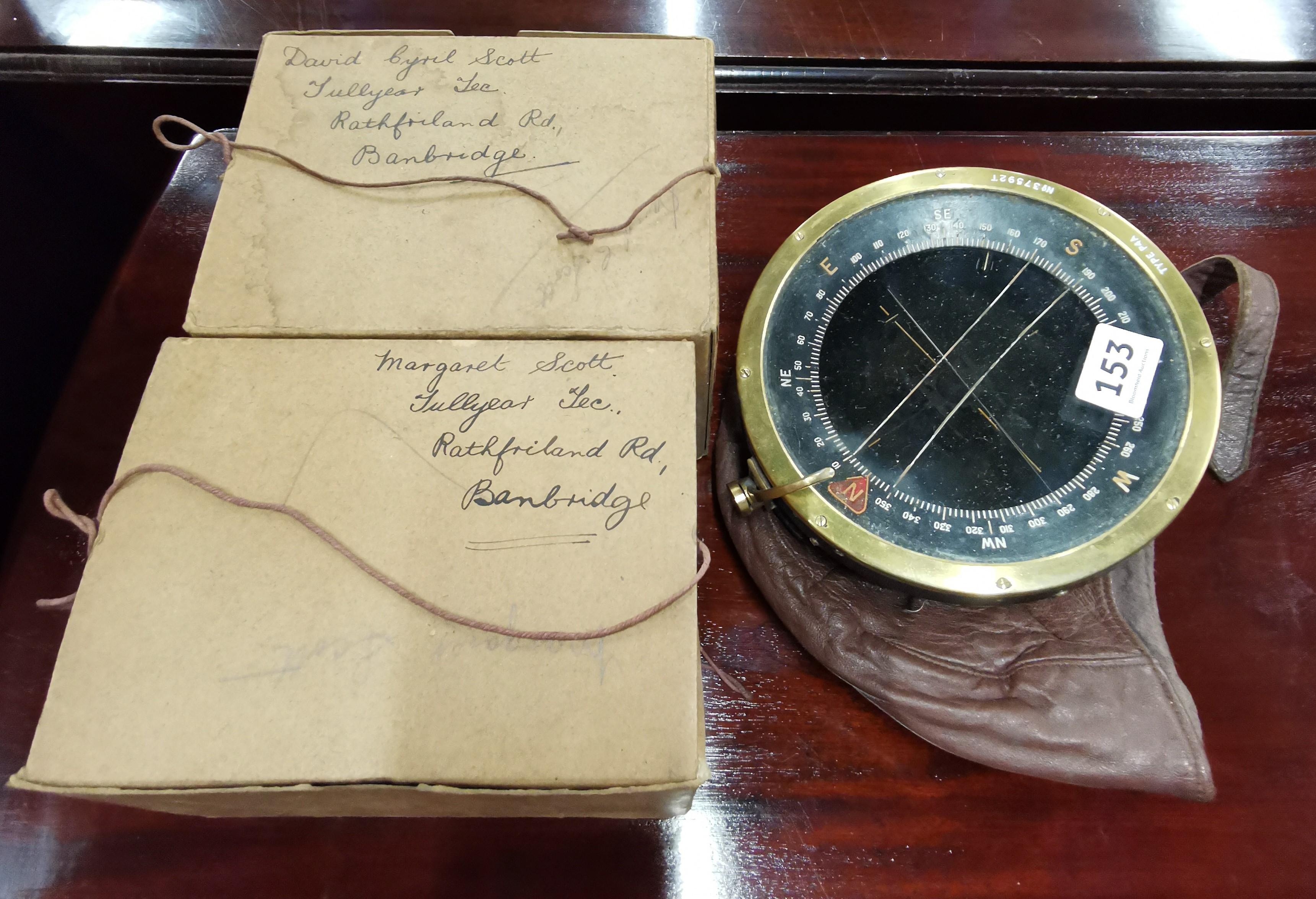 Lot 153 - 2 GAS MASKS, FLIGHT CAP & COMPASS