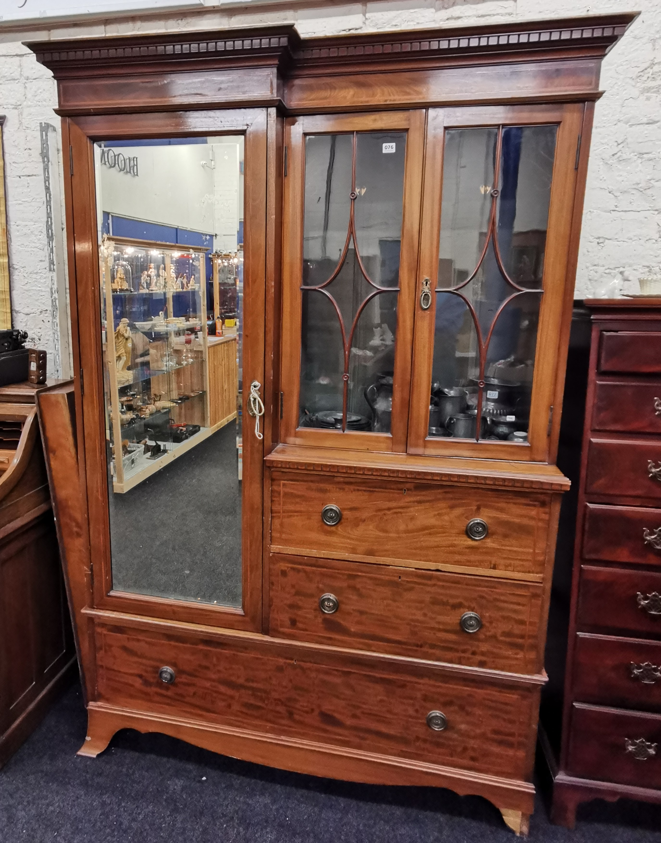 Lot 76 - VICTORIAN INLAID COMBINED WARDROBE & DRAWERS
