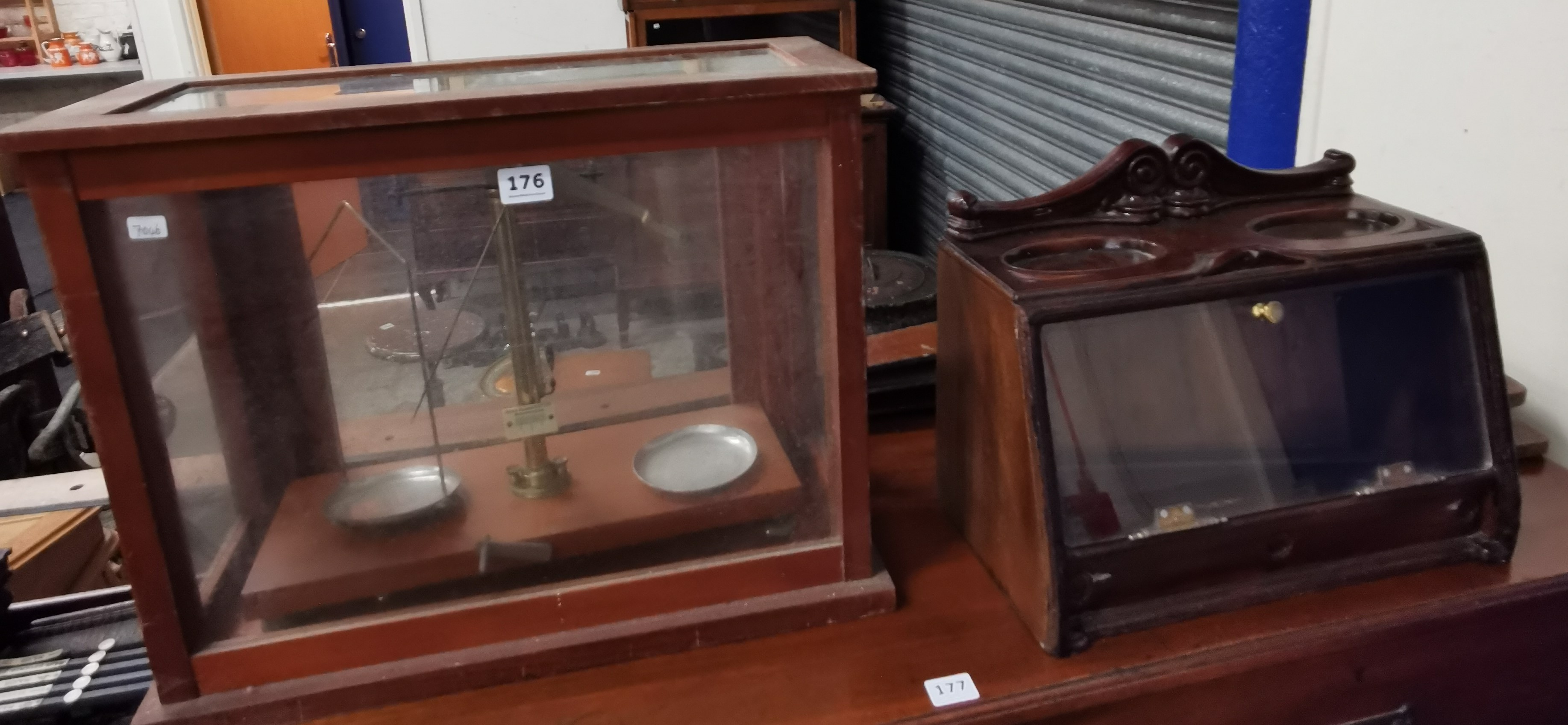 Lot 176 - BALANCE SCALES, T SQUARES AND SMALL DISPLAY CASE