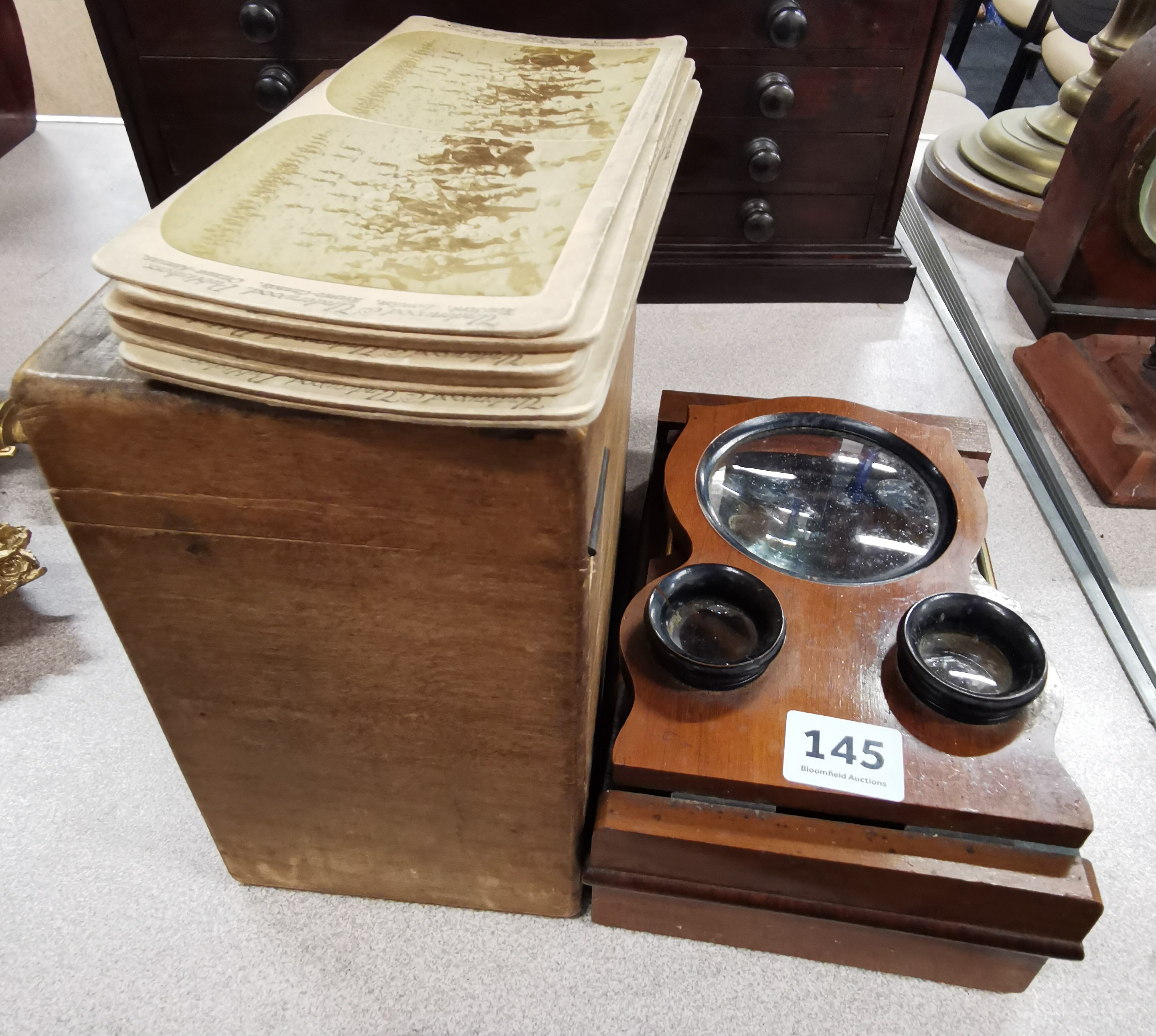 Lot 145 - ANTIQUE STEREO VIEWER, CARDS & PLATES