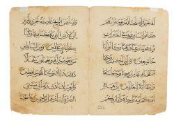 Bifolia from three Mamluk Qur'ans, in Arabic, illuminated manuscripts on paper [Mamluk Regions inclu