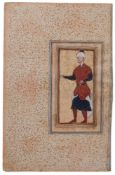 Portrait of a standing Courtier, from a fine Safavid album, Persian miniature on polished paper [Ear