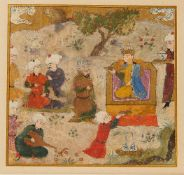 Rostam fighting the White Demon, with a second miniature on the reverse of Rostam with a Prince and