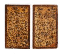 A pair of Qajar lacquered boards, for use as a book binding [Qajar Persia, early nineteenth century]