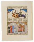 Rostam and his Courtiers, and possibly Rostam killing Isfandyar, two scenes on one leaf from an illu