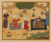 Rostam with his Courtiers, scene from an illustrated Shahnameh, Persian miniature on paper
