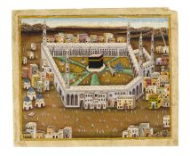 A pair of Panoramic views of Mecca and Medina, Indian paintings on paper [Northern India (probably D