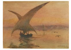 """Marcus Adams, A view of the Nile, original watercolour on paper [n.p., dated """"07"""": 1907 AD]"""