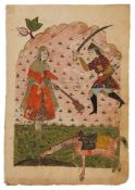A full-page Safavid-style illustration, Indian miniature on paper [India (Deccan), c.1700]