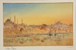 L.B.H. Cremer (artist), Eastern Skyline, a view of Istanbul–Bosphorous, original illustration, water