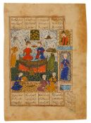 An enthroned Zal and Rudabeh being entertained by palace courtiers and attendants