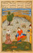 The Shah consulting a Mulla, leaf from a Shahnameh, illuminated manuscript on polished paper [Safavi