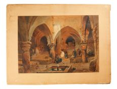 """Coffee House at Jerusalem"" and ""The Holy Rock, Jerusalem"", two plates by M. and N. Hanhart after Ca"
