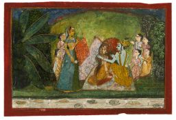 Krishna and Radha surrounded by Gopis, attributed to Nihal Chand, Indian miniature on card, Rajput s