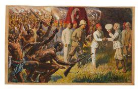 H.L. Bacon (artist), original illustration of Henry Morton Stanley's meeting Emin Pasha, watercolour