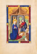 The Nativity, full-page miniature on a leaf from an illuminated Book of Hours