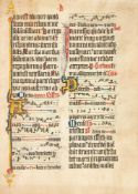 Leaf from an illuminated Missal, in Latin, manuscript on parchment