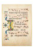 Vast illuminated initial 'I' on a leaf from a Gradual, illuminated manuscript on parchment