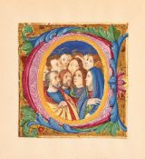 Pentecost in a finely illuminated historiated initial, on a cutting most probably from a choirbook