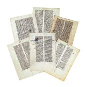 Six leaves from pocket Bibles and a related university text, in Latin