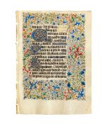 Leaf from an opulently illuminated Book of Hours, in Latin, on parchment [France (Paris), c. 1430]