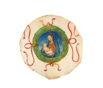 Cutting from a manuscript, probably a choirbook, with the Virgin and Child in a wreath