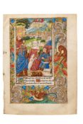 The Annunciation to the Shepherds, on a leaf from a Book of Hours, illuminated manuscript in Latin