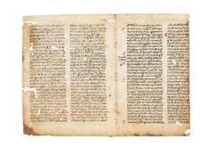 Bifolium from Jacobus de Voragine, Sermones de sanctis, in Latin, decorated manuscript on parchment