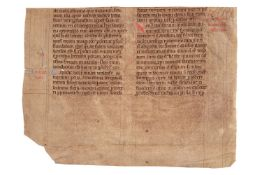 Fragment from a monumental Lectionary, in Latin, decorated manuscript on parchment