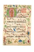 St. Anthony of Padua, in a large initial on a leaf from an antiphonal, illuminated manuscript