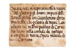 Playbill for anti-Semitic theatrical performance, in Italian, manuscript on paper