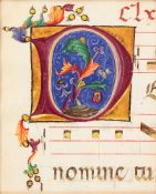 Large initial enclosing foliage, on a cutting from an illuminated choirbook, on parchment