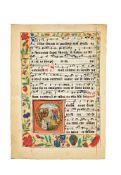 The Martyrdom of St. Catherine, in an initial on a choirbook leaf, manuscript on parchment