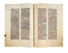 Three bifolia from a gargantuan Missal, in Latin, manuscript on parchment