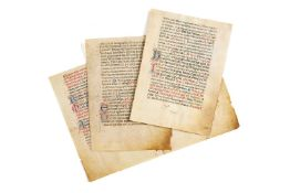 Three bifolia from a decorated manuscript Missal, in Latin, on parchment [Italy, fifteenth century]