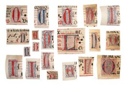 Twenty cuttings with penwork initials from a choirbook, in Latin, manuscripts on parchment