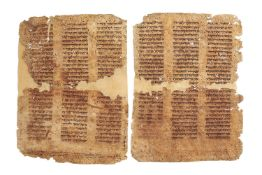 Two large leaves from a three-column Hebrew Bible, manuscripts on parchment