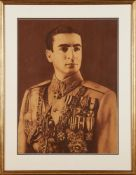 A Young Mohammad Reza Shah Pahlavi, large sepia-tint photographic poster [Iran, c. 1930]