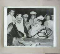 Ibn Saud and the Shah, original press photograph [either London or New York, 1955]
