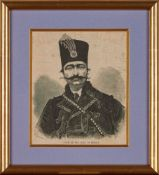 Portraits of Nasser ad-Din Shah Qajar, from various European Newspapers and Journals, engravings and
