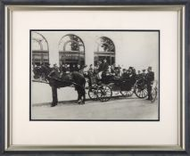 Muzzafer ad-Din Shah Qajar in a Horse-Drawn Carriage, reprinted black and white photograph, taken on