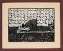 A King Bows in Reverence, Mohammad Reza Shah Pahlavi in Mashhad, original press photograph, by Assoc