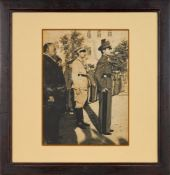 A Young Mohammad Reza Shah Pahlavi, together with his brother, standing in uniform outside Golestan