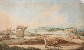 R.C. Carrington, Views over Ancient Appolonia in Cyrenaica, original watercolour on paper
