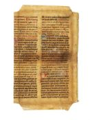 Leaf from a large Breviary with bilingual text in Latin and Old High German, decorated manuscript