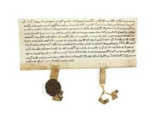 """Charter issued by Johannes """"fitz Ley"""" of Coventry and Margaret his wife for Radulfus """"Le Alley"""""""