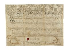 Calligraphic charter illustrated with hunting scenes, issued by Frederick the Great