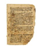 Leaf from a large Lectionary, in Coptic with a few Arabic characters, manuscript on paper