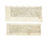 Two charters issued for properties in the parish of St. Mary, Sandwich, in Latin