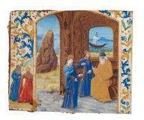 Cato the Elder lecturing to Scipio Africanus and Gaius Laelius Sapiens, large miniature on parchment
